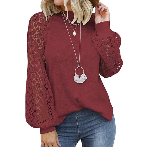 Serenity Casual Lace Jumper- Wine Red