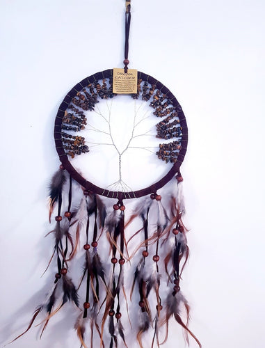 Tree of Life Crystal Dream Catcher- Tiger's Eye