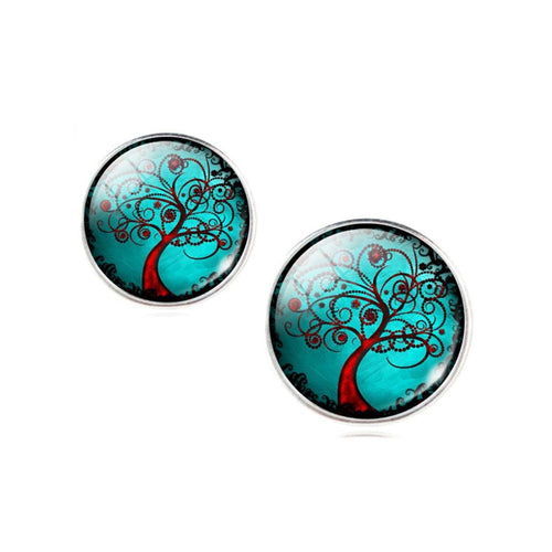 Tree Of Life Glass Cabochon Stud Earrings- Green