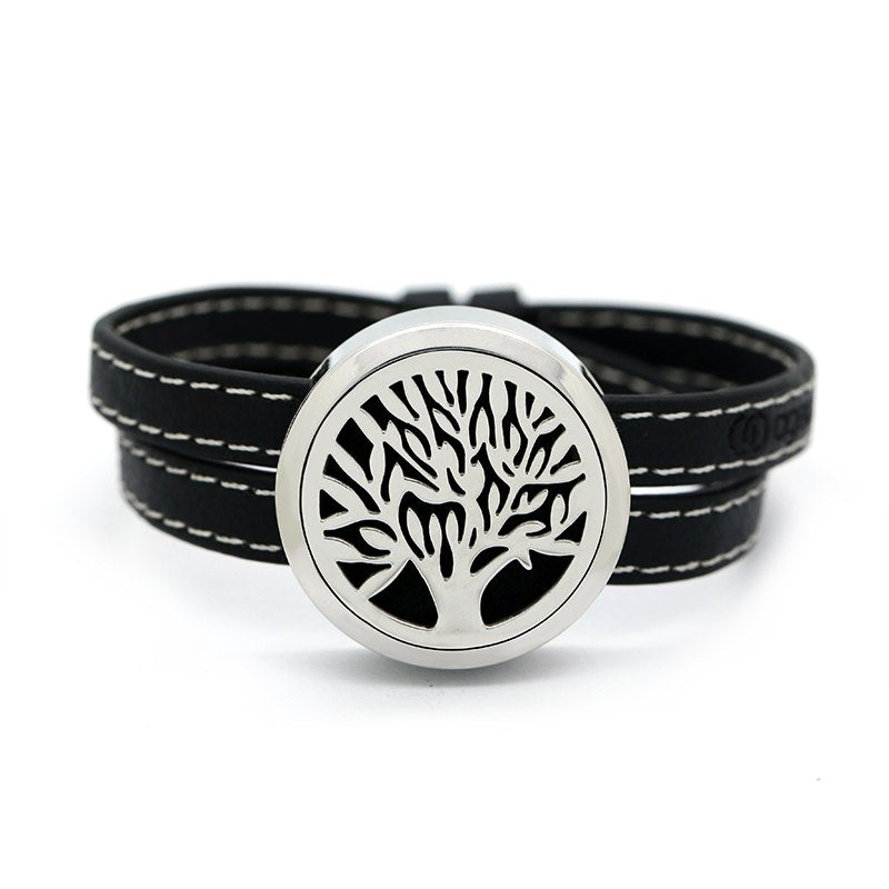 Tree of Life Leather Diffuser Bracelet