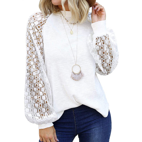 Serenity Casual Lace Jumper- White