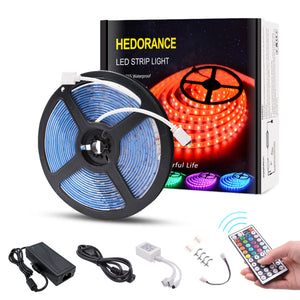 RGB LED Strip Lights(16.4ft), 44 Key Remote & 12 V Power Adapter
