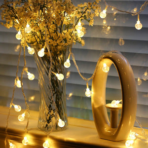 Crystal LED Globe String Lights - 32.8ft 100 LEDs