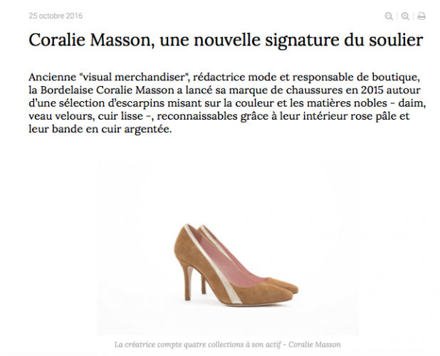 "On parle de nous #17: Fashion Network- ""Coralie Masson une nouvelle signature du soulier"""