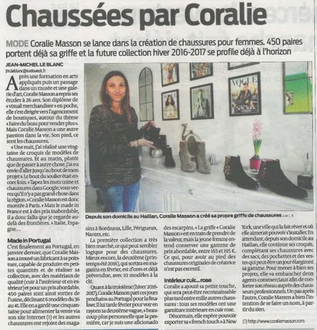 Article de Journal Sud-Ouest sur Coralie Masson