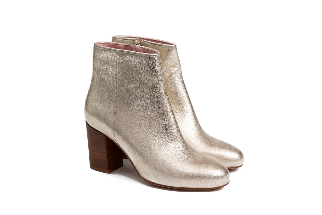 Bottines cuir irisé doré
