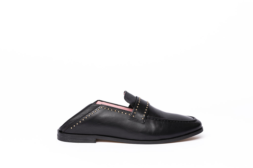Mocassins JC Noir clous or