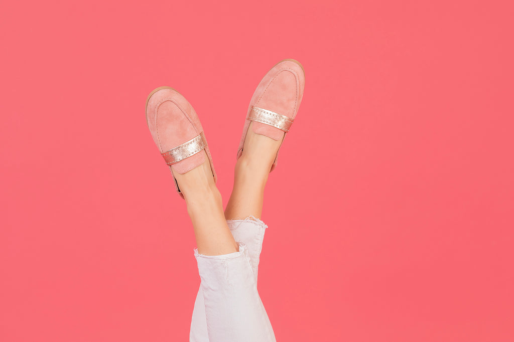 Mocassins JC rose poudré et rose gold