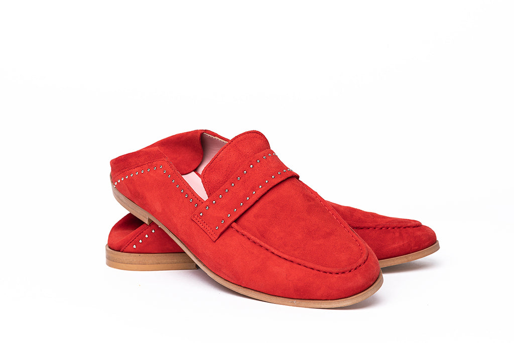 Mocassins velours rouge