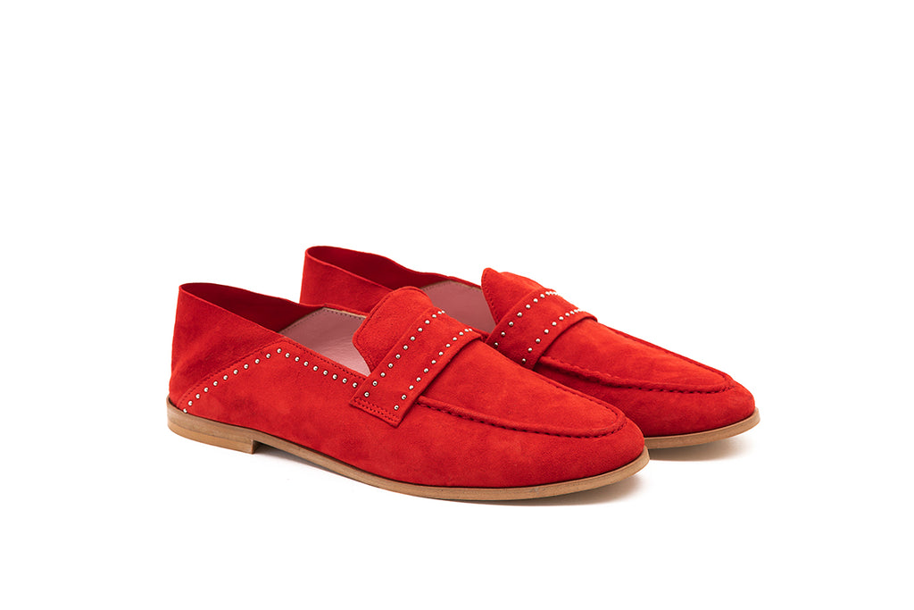 Mocassins en chèvre velours rouge