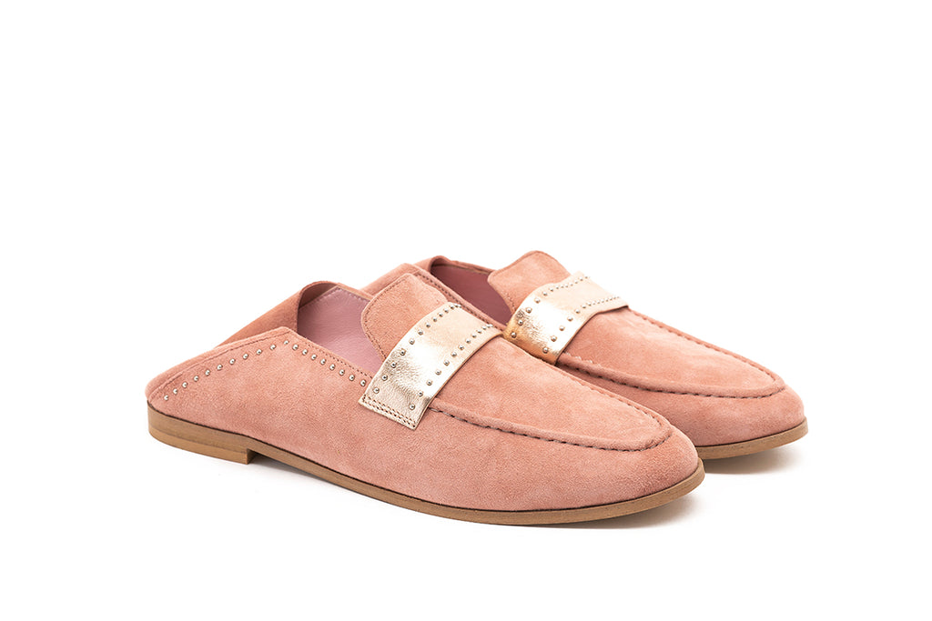 Mocassins rose poudré et rose gold