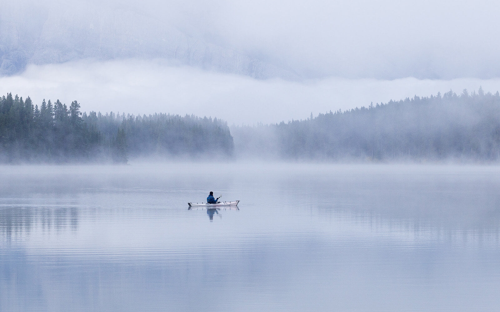Oru Kayak on misty lake