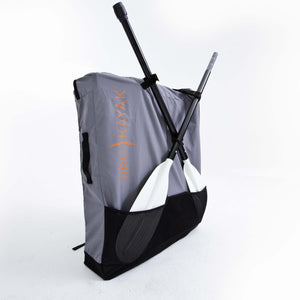Oru Kayak backpack back with paddle