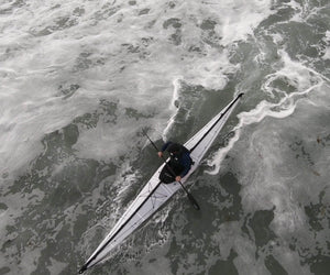 Oru Kayak Coast XT in ocean from above
