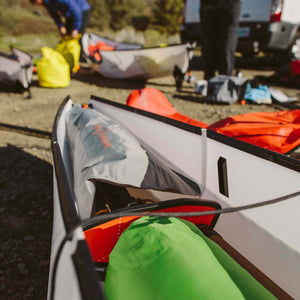 Oru float bag in stern of kayak