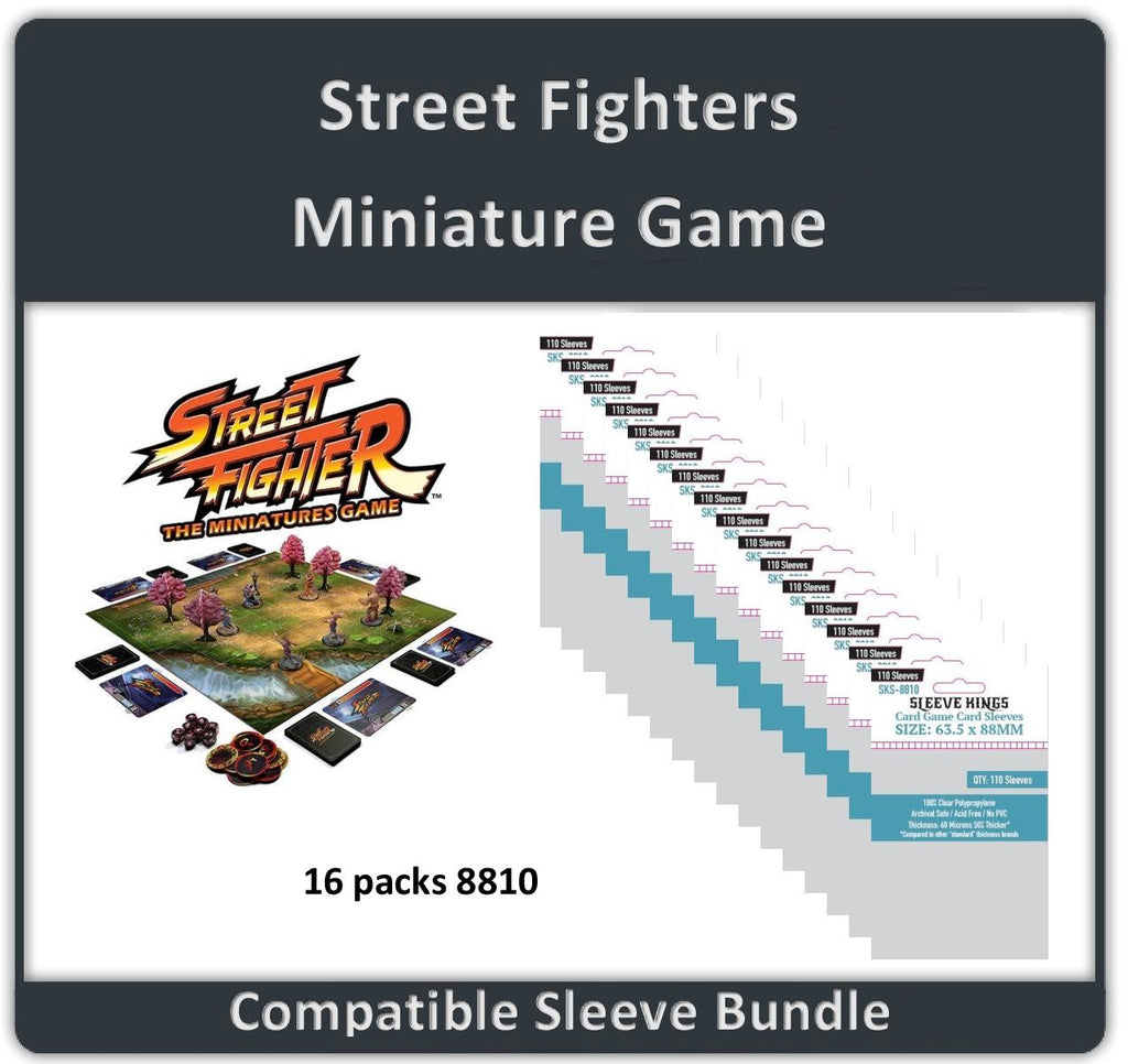 """Street Fighters Miniature Game"" Compatible Sleeve Bundle (8810 X 16 )"