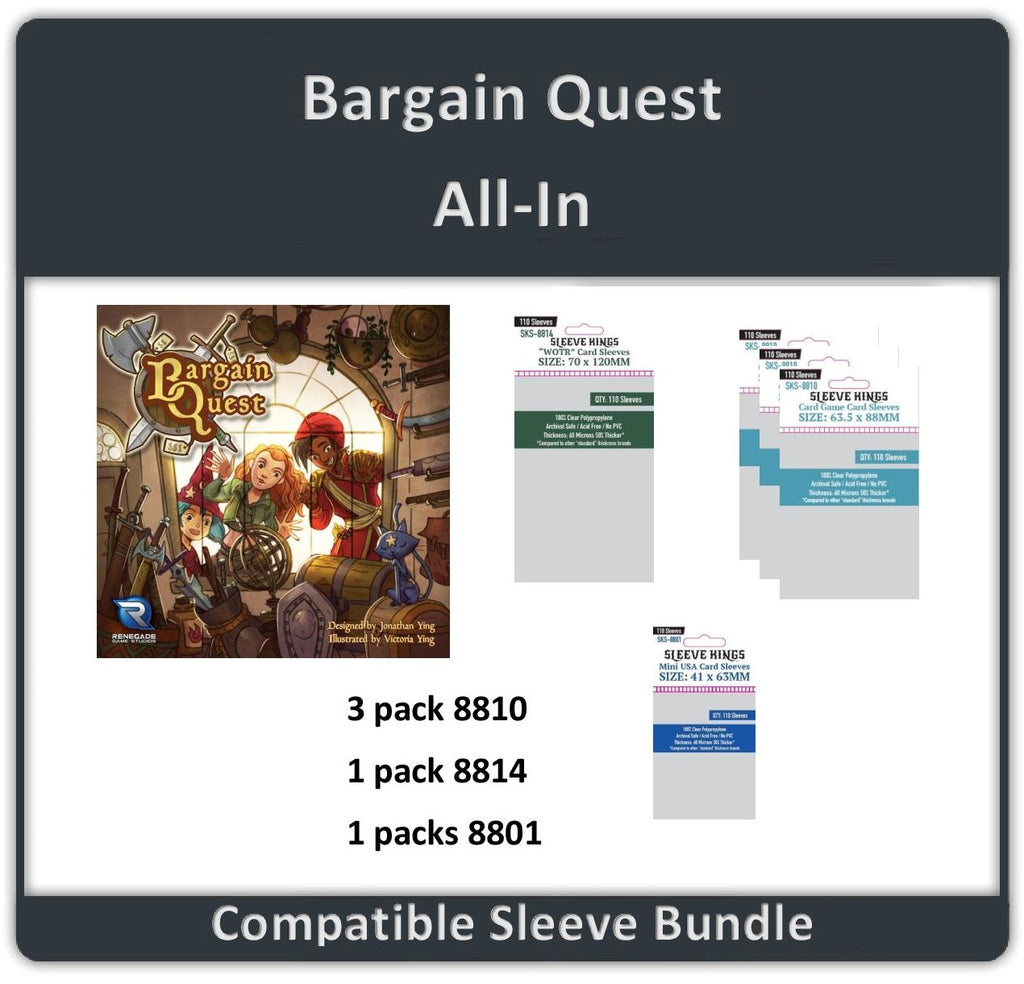 """Bargain Quest All In"" Compatible Sleeve Bundle (8810 X 3 + 8801 X 1 + 8814 X 1)"