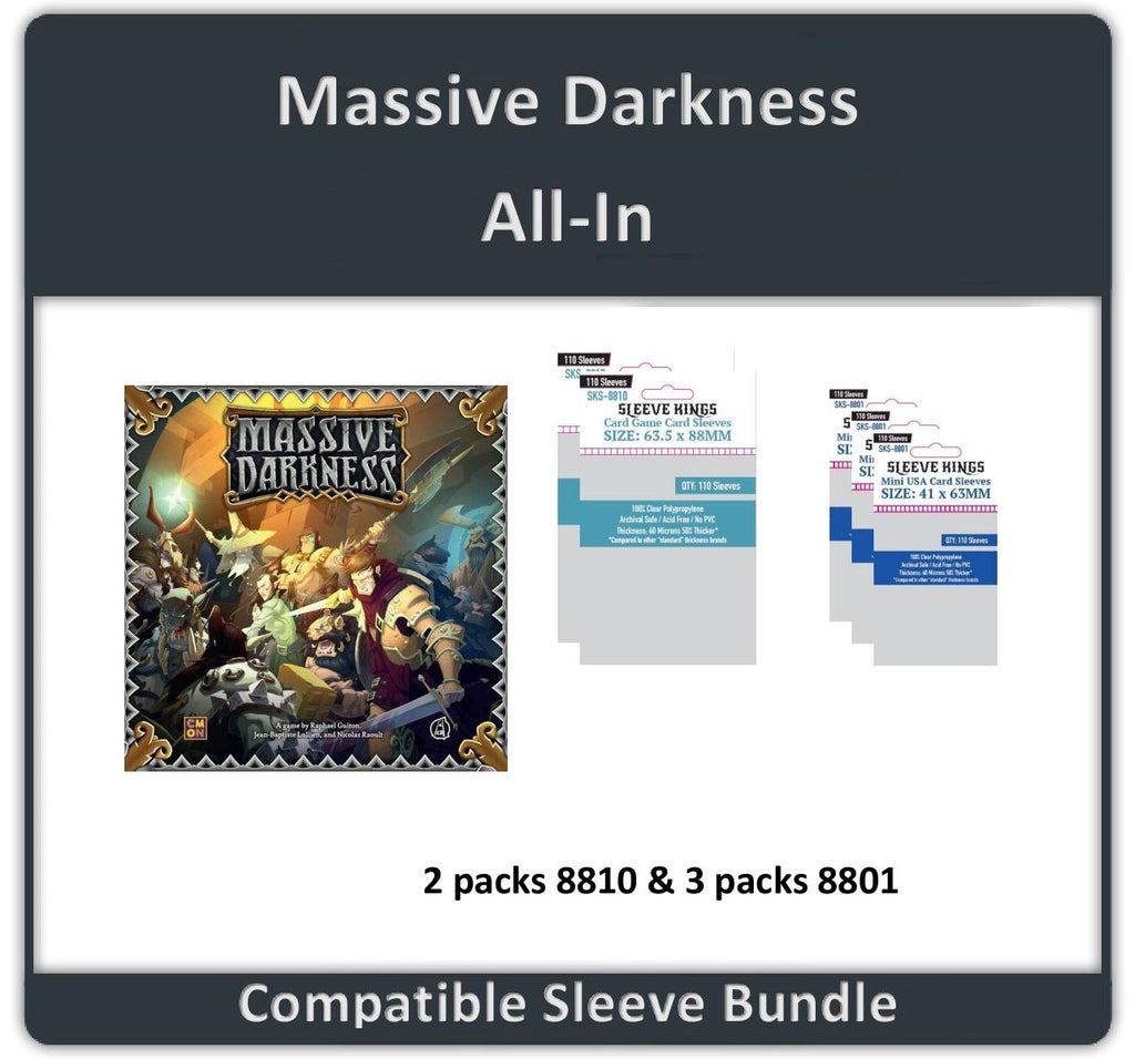 """Massive Darkness All In"" Compatible Sleeve Bundle (8810 X 2 + 8801 X 3)"