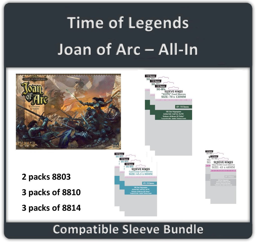 """Time of Legends Joan of Arc All In"" Compatible Sleeve Bundle (8814 X 3 + 8810 X 3 + 8803 X 2)"