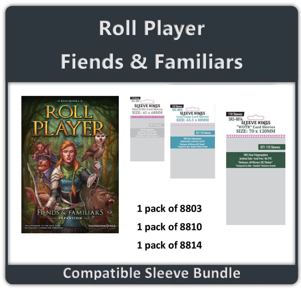 """ROLL PLAYER - Fiends & Familiars Expansion"" Compatible Sleeve Bundle (8803 X 1 + 8810 X 1 + 8814 X 1)"