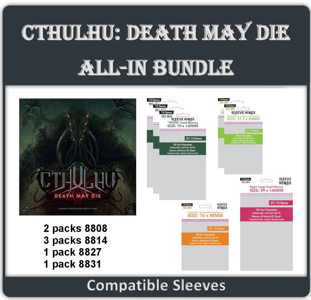 """Cthulhu: Death May Die ALL IN"" Compatible Sleeve Bundle (8808 X 2 + 8814 X 3 + 8827 X 1 + 8831 X 1)"