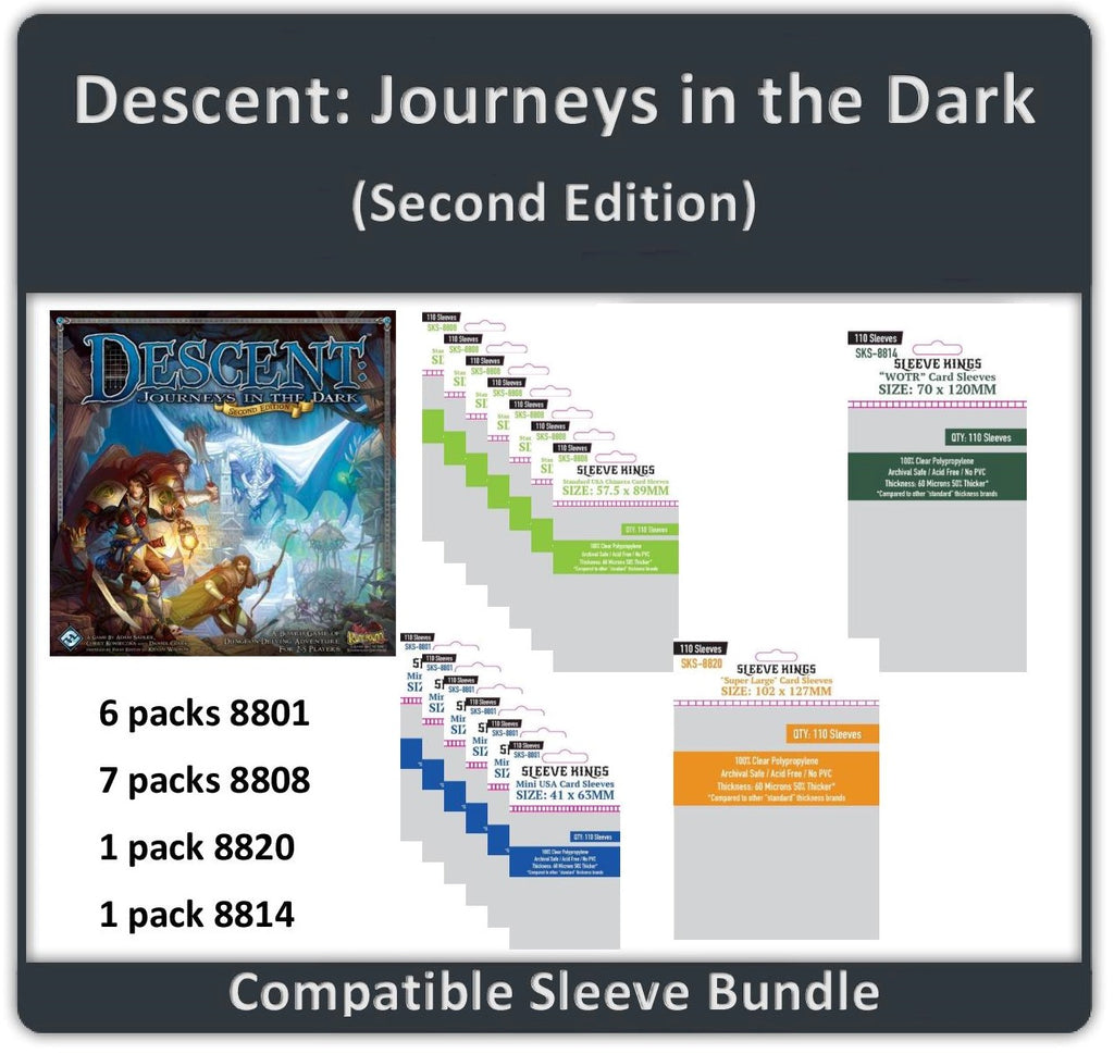 """Descent: Journeys in the Dark (Second Edition) ALL IN"" Compatible Sleeve Bundle (8801 X 6 + 8808 X 7 + 8814 X 1 + 8820 X 1)"