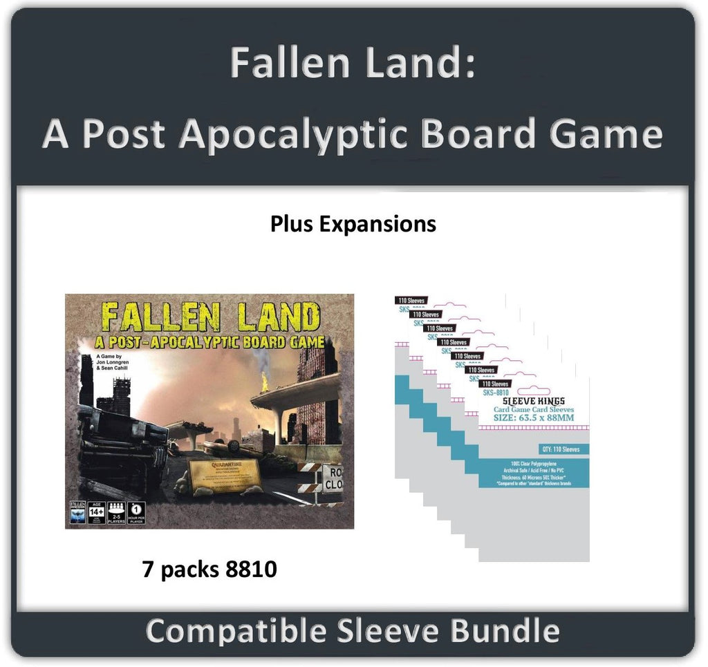 """Fallen Land: A Post Apocalyptic Board Game + Expansions"" Compatible Sleeve Bundle (8810 X 7)"