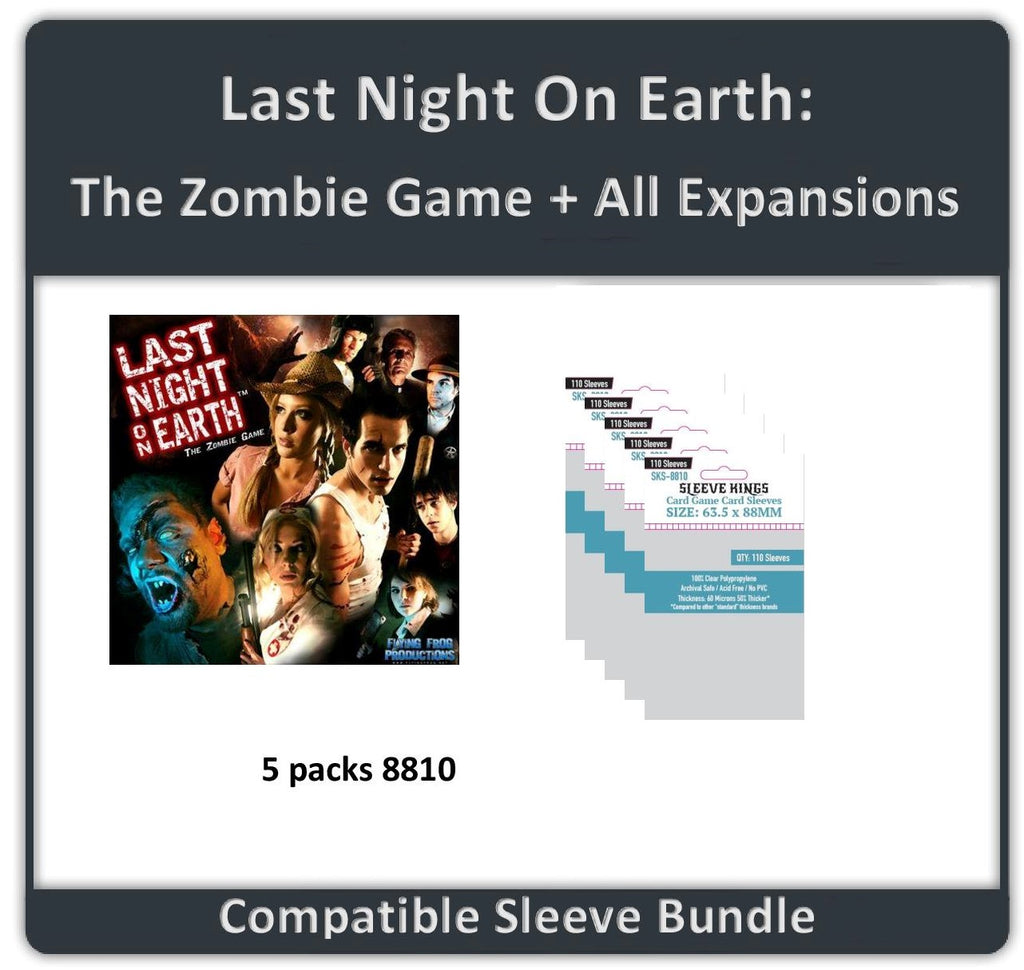 """Last Night on Earth: The Zombie Game + All Expansions"" Compatible Sleeve Bundle (8810 X 5)"