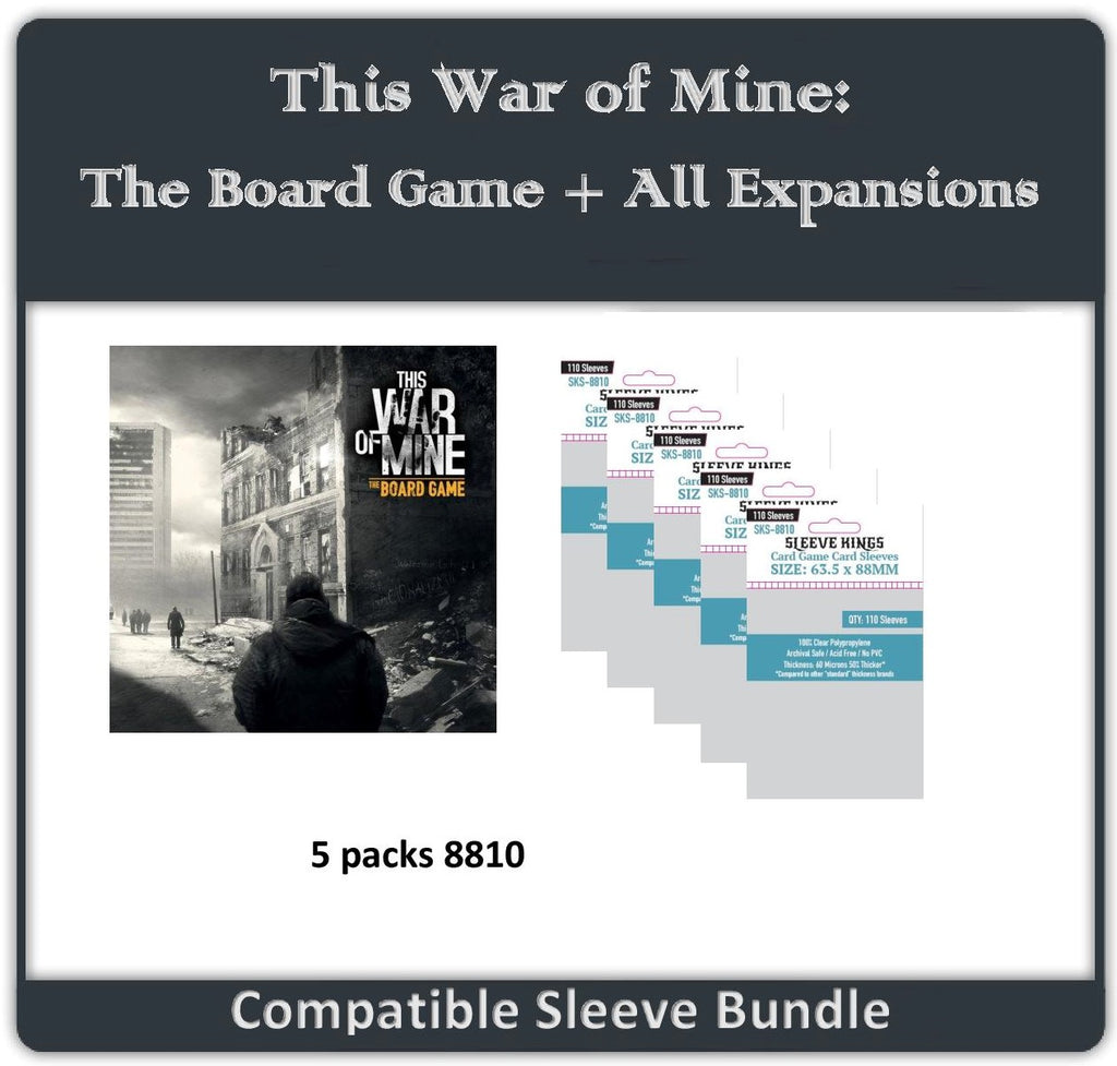 """This War of Mine: The Board Game + All Expansions"" Compatible Sleeve Bundle (8810 X 5)"