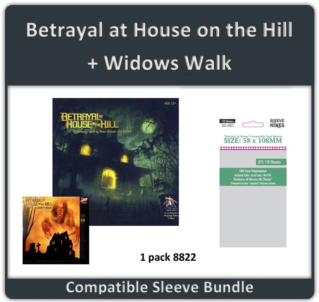 """Betrayal At House On The Hill +Widows Walk"" Compatible Sleeve Bundle (8822 X 1)"