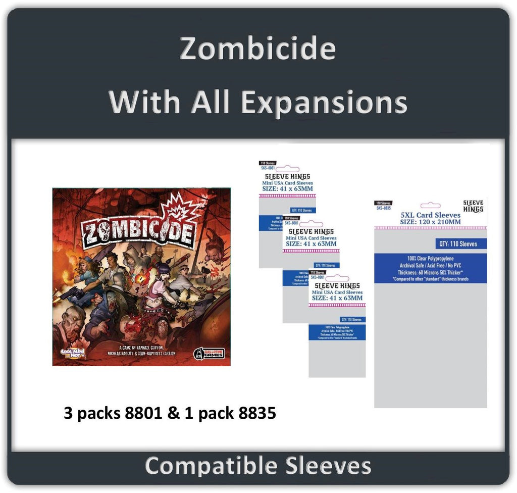 """Zombicide + All Expansions"" Compatible Sleeve Bundle (8801 X 3 + 8835 X 1)"