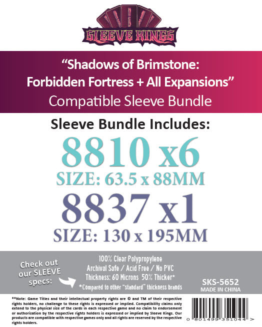 """Shadows of Brimstone: Forbidden Fortress + All Expansions"" Compatible Sleeve Bundle (8810 X 6 +8837 X1)"