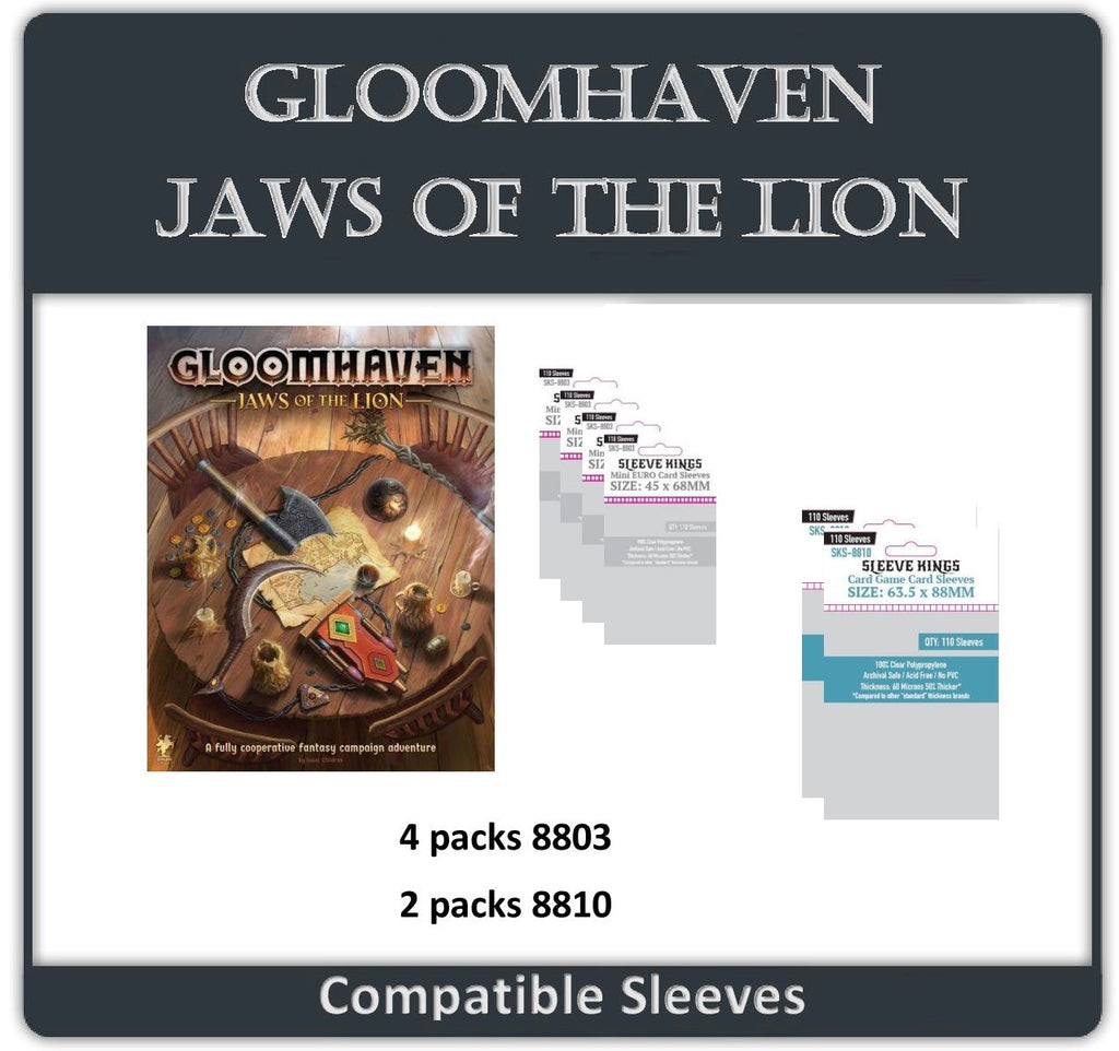 """Gloomhaven: Jaws of the Lion"" Compatible Sleeve Bundle (8803 X 4 + 8810 X 2)"