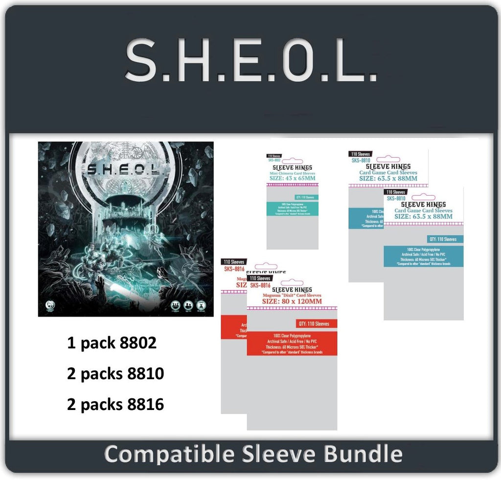 """Sheol Board Game Compatible"" Sleeve Bundle (8802 X 1 + 8810 X 2 + 8816 X 2)"