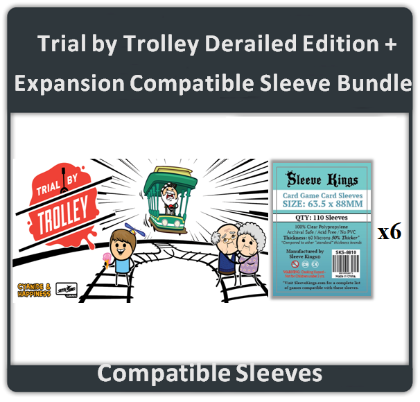 """Trial by Trolley Derailed Edition + Expansion"" Compatible Sleeve Bundle (8810 X 6)"