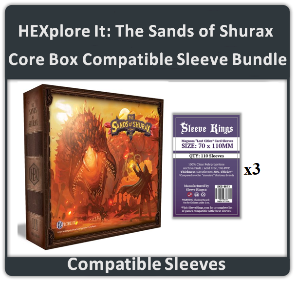"""HEXplore It: The Sands of Shurax Core Box"" Compatible Sleeve Bundle (8813 X 3)"