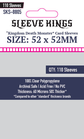 "Sleeve Kings ""Kingdom Death Monster"" Card Sleves (52 X 52mm) -110 Pack, -SKS-8805"