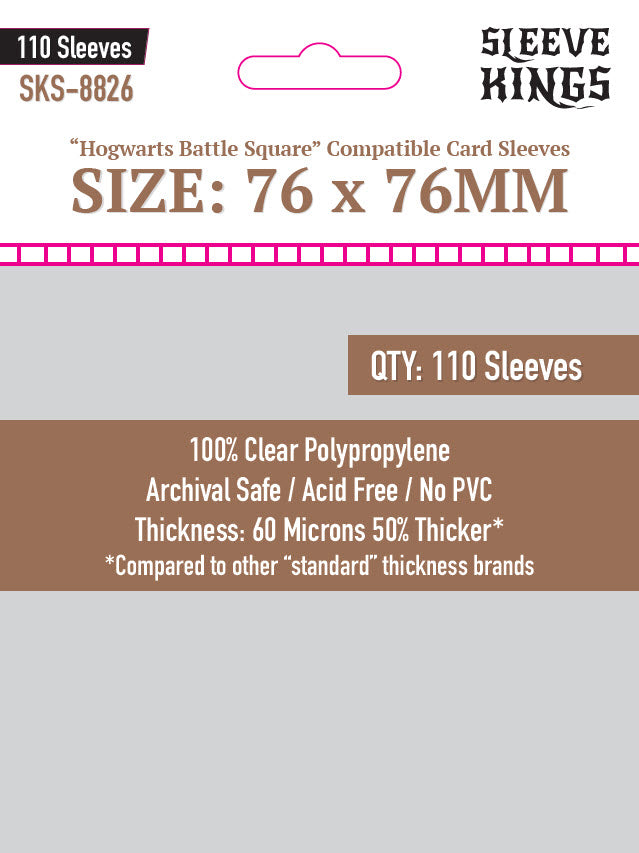 """Hogwarts Battle Square Compatible"" Sleeves (76x76mm) - 110 Pack, SKS-8826"