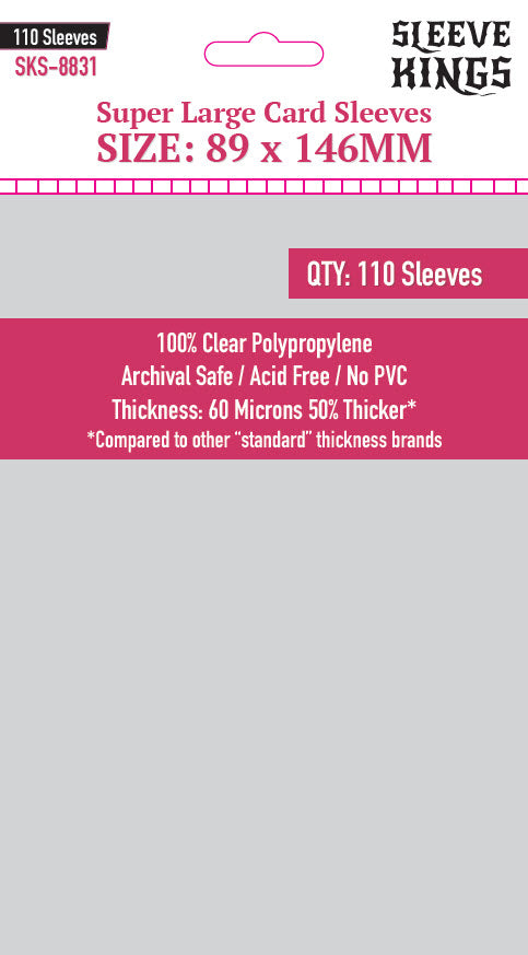 """Super Large"" Sleeves (89x146mm) - 110 Pack, SKS-8831"
