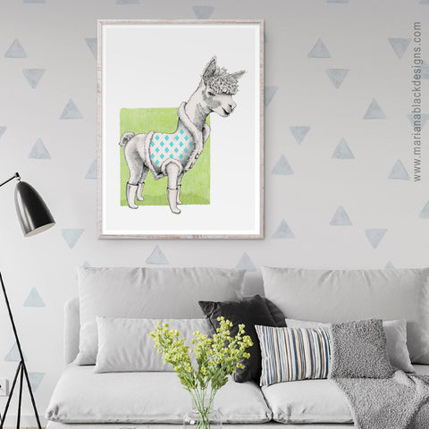 Alpaca Eco-Friendly Art Poster