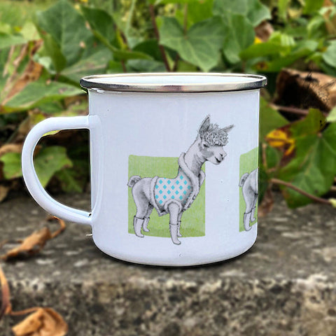 Alpaca on Green Enamel Mug