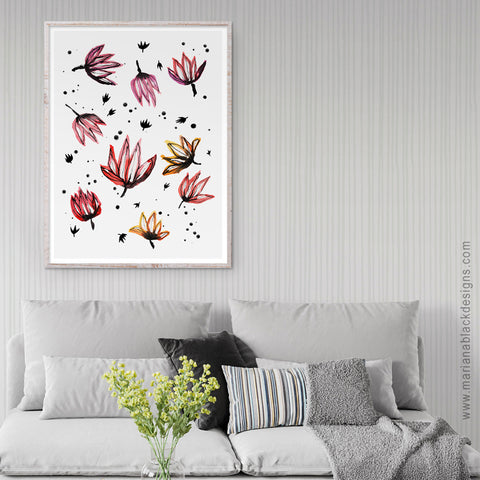 Dancing Lotus Flowers Eco-Friendly Art Poster