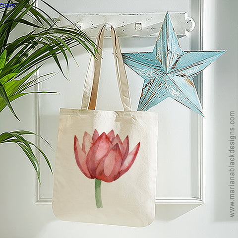 Lovely Lotus Orange Organic Spring Tote