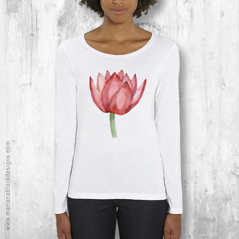 Lovely Lotus Orange Organic long-sleeved T-shirt