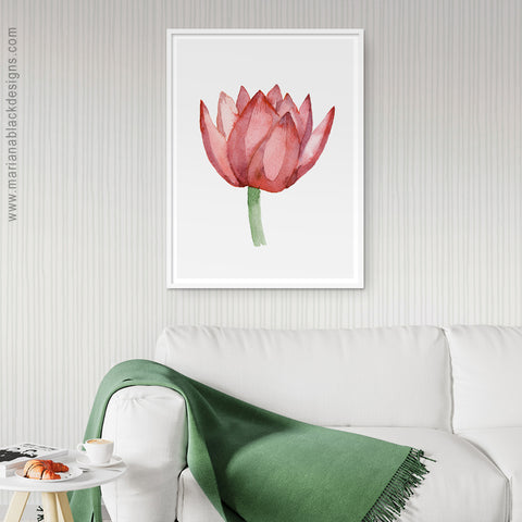 Lovely Lotus Orange Eco-Friendly Art Poster