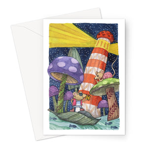 Mice Mushrooms Lighthouse Eco-friendly Greeting Card