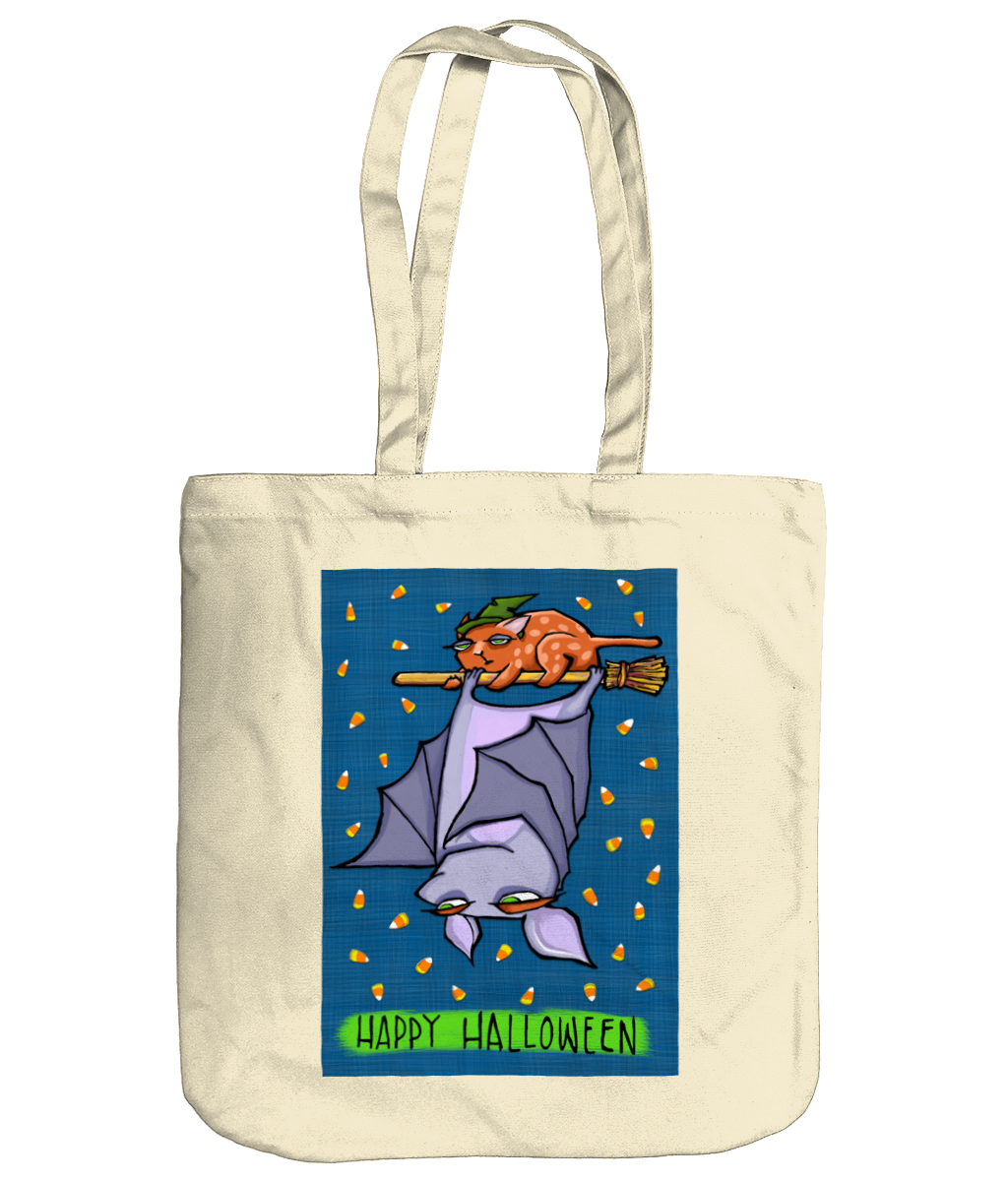 Grouchy Bat Cat Halloween Organic Spring Tote