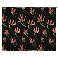 Load image into Gallery viewer, Caramel Brown on Black Watercolour Flowers Scarf