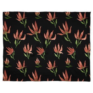 Caramel Brown on Black Watercolour Flowers Scarf