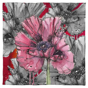Inky Poppy Red Scarf